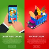 Banners for web site online food order, food delivery and drone delivery.. Banners for web site online food order, food delivery and drone delivery. Online Royalty Free Stock Photos