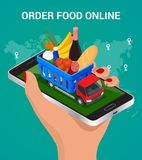 Banners for web site online food order, food delivery and drone delivery.. Online shopping concept. Isometric vector illustration Royalty Free Stock Photo
