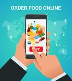 Banners for web site online food order, food delivery and drone delivery.. Online shopping concept. Isometric vector illustration Stock Photos