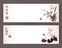 Banners with wild orchid and lotus flowers in vintage style. Traditional oriental ink painting sumi-e, u-sin, go-hua Stock Photography