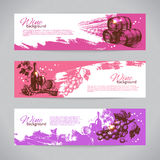 Banners of wine vintage background. Hand drawn illustrations Royalty Free Stock Photo