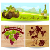 Banners with winemaking Royalty Free Stock Photos