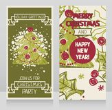 Banners for winter holidays with christmas tree in hand drawn style. Vector illustration Stock Photo