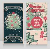 Banners for winter holidays with christmas tree in hand drawn style. Vector illustration Stock Images