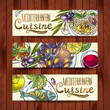 Banners With Mediterranean Food Stock Photography