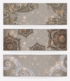 Banners With Paisley Patterns Stock Photography