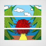 Banners with a woman with developing hair in a forest. Royalty Free Stock Photography
