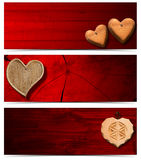 Banners with Wooden Hearts Royalty Free Stock Photos
