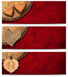 Banners with Wooden Hearts Royalty Free Stock Image