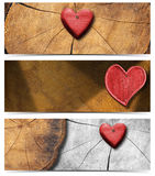 Banners with Wooden Hearts Royalty Free Stock Photography