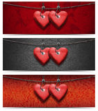 Banners with Wooden Hearts Stock Images
