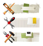 Banners with work tools. 3 paper banners with work tools Stock Image
