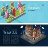 Bannersgebouwen en bureaus van de stad vector illustratie