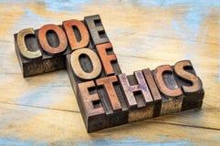 Bannert del código ético en tipo de madera de la prensa de copiar fotografía de archivo