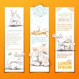 Bannes verticales de los animales lindos fijados Imágenes de archivo libres de regalías