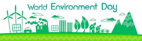 Bannière à énergie solaire verte de jour d'environnement du monde de panneau de turbine de vent de silhouette de ville illustration stock