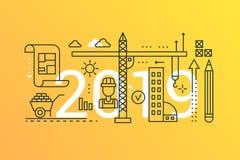 Bannière à la mode de concept de composition en mot de bâtiment et de construction 2019 Icônes de planification d'architecture de illustration libre de droits