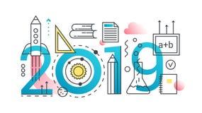 Bannière à la mode de concept de composition en mot de l'éducation 2019 Décrivez l'école de course, univercity, la connaissance,  illustration libre de droits