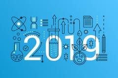 Bannière à la mode de concept de composition en mot de la Science 2019 École de course d'ensemble, éducation d'université, scienc illustration stock