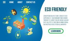 Bannière écologique de concept, style isométrique illustration stock