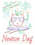 Bannière éducative de Newton Day illustration libre de droits