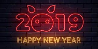 Bannière électrique lumineuse de lumière de vacances d'hiver d'enseignes au néon rougeoyant sur le fond noir de brickwall illustration stock