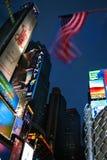 Bannière étoilée dans le Times Square Photos stock