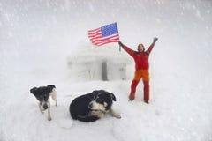 Bannière étoilée des Etats-Unis dans une tempête Image stock