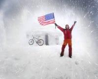 Bannière étoilée des Etats-Unis dans une tempête Photographie stock