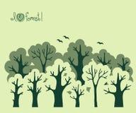 Bannière abstraite de forêt à feuilles caduques verte Photo stock