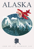 Bannière américaine de voyage de l'Alaska illustration libre de droits