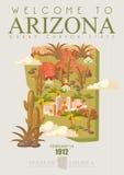 Bannière américaine de voyage de l'Arizona État de canyon grand Illustration de Vecteur