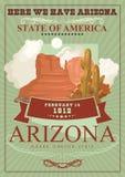 Bannière américaine de voyage de l'Arizona Affiche dans le style de vintage Image libre de droits