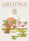 Bannière américaine de voyage de l'Arizona Ici nous avons l'Arizona Illustration Libre de Droits