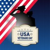 Bannière américaine nationale de vacances de célébration de jour de vétérans avec le fond de drapeau de Silhouette Over Usa de so illustration stock