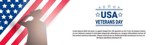 Bannière américaine nationale de vacances de célébration de jour de vétérans avec le fond de drapeau de Silhouette Over Usa de so illustration libre de droits