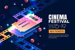 Bannière au néon rougeoyante de festival de cinéma de vecteur Billets de cinéma dans le style 3d isométrique sur le fond cosmique illustration libre de droits
