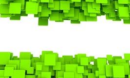 Bannière avec des frontières des cubes verts illustration stock