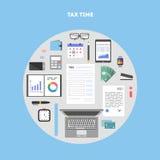Bannière avec des icônes payant des impôts en cercle Image libre de droits