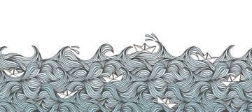 Bannière avec des vagues et des bateaux de papier illustration libre de droits