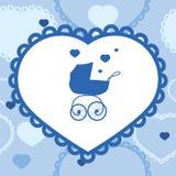 Bannière avec la poussette de bébé Image stock
