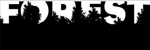 Bannière avec la silhouette de la forêt et des arbres de mot Photographie stock