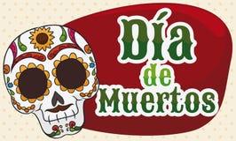Bannière avec le crâne coloré pour le Mexicain Dia de Muertos Celebration, illustration de vecteur Photos stock