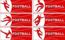 Bannière avec le footballeur images stock