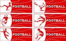 Bannière avec le footballeur images libres de droits