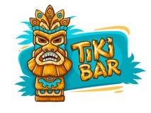 Bannière avec le masque tribal traditionnel ethnique de Tiki illustration stock