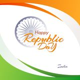 Bannière avec le texte du jour de République à l'arrière-plan abstrait de l'Inde avec des lignes d'écoulement de couleurs du drap