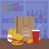 Bannière avec les aliments de préparation rapide avec le kola, l'hamburger et les fritures Images stock