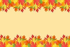 Bannière avec les feuilles d'automne colorées sur le fond jaune illustration stock