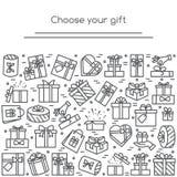 Bannière avec les pictogrammes enveloppés de boîte-cadeau avec la course editable rassemblée sous la forme de rectangulaire photos stock